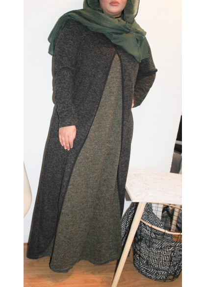 Abaya Bicolore Grise anthracite