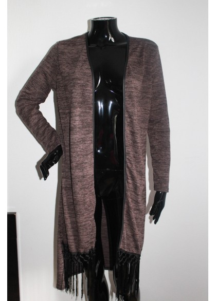 Gilet alicia franges marron